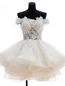 High End White Tulle Zipper Cocktail Dresses Sleeveless Knee Length Beading and Lace and Embroidery and Ruffles