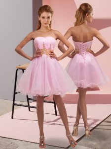 Baby Pink Lace Up Cocktail Dress Beading and Ruching Sleeveless Mini Length