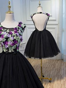 High End Black Sleeveless Tulle Backless Cocktail Dresses for Prom and Party and Sweet 16