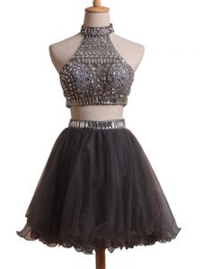 Dazzling Halter Top Sleeveless Cocktail Dresses Mini Length Beading Black Organza