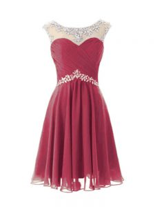 Gorgeous Burgundy Scoop Zipper Beading Cocktail Dress Cap Sleeves