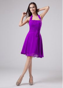 Best Eggplant Purple Halter Top Neckline Ruching Cocktail Dresses Sleeveless Zipper
