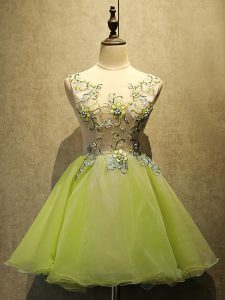 High Class Sleeveless Organza Mini Length Lace Up Cocktail Dresses in Yellow Green with Embroidery