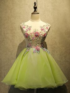 Deluxe Olive Green Cocktail Dresses Prom and Party with Embroidery Scoop Sleeveless Lace Up