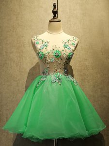 Glamorous Green A-line Scoop Sleeveless Organza Mini Length Lace Up Embroidery Cocktail Dresses