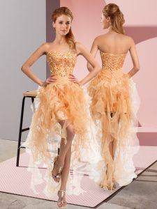 Classical Sweetheart Sleeveless Cocktail Dresses High Low Beading and Ruffles Gold Organza