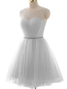 Hot Selling Sleeveless Lace Up Mini Length Beading and Ruching Club Wear