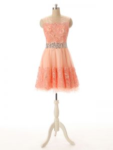 Affordable Sleeveless Tulle Mini Length Zipper Cocktail Dresses in Peach with Beading and Lace and Appliques