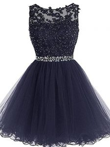 Beading and Lace and Appliques and Ruffles Club Wear Navy Blue Zipper Sleeveless Mini Length