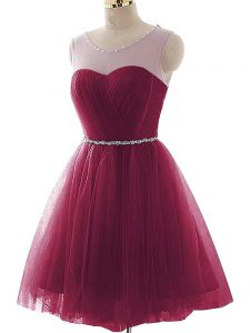 Tulle Sleeveless Mini Length Cocktail Dresses and Beading and Ruffles