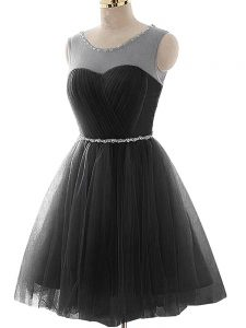 Flirting Mini Length Lace Up Cocktail Dress Black for Prom and Party and Beach with Beading and Ruching