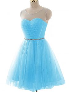Flare Aqua Blue A-line Tulle Scoop Sleeveless Beading and Ruching Mini Length Lace Up Cocktail Dresses