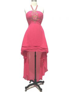 Beauteous Sleeveless Chiffon High Low Backless Cocktail Dresses in Hot Pink with Beading