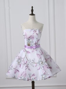 Sweet White A-line Printed Scoop Sleeveless Belt Mini Length Lace Up Celebrity Evening Dresses