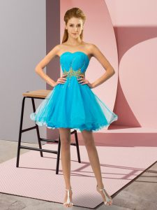 Sweet Baby Blue Sleeveless Mini Length Beading and Ruching Lace Up Cocktail Dresses