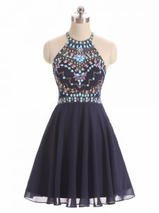 Beautiful Beading Cocktail Dress Black Side Zipper Sleeveless High Low