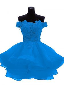 Lace and Appliques and Ruffles Cocktail Dresses Blue Zipper Sleeveless Mini Length