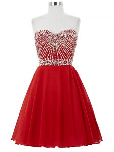 Nice Red Sleeveless Beading Mini Length Cocktail Dresses