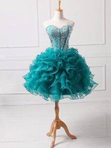 Most Popular Teal Sleeveless Organza Lace Up Cocktail Dress for Prom and Party and Sweet 16