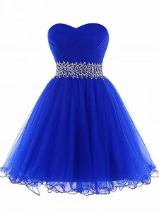 Most Popular Sweetheart Sleeveless Tulle Club Wear Beading and Ruffles Lace Up