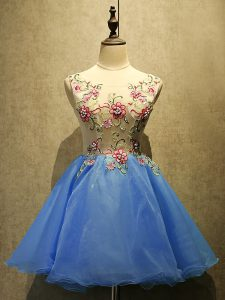 Nice Blue Sleeveless Organza Lace Up Cocktail Dresses for Prom and Party