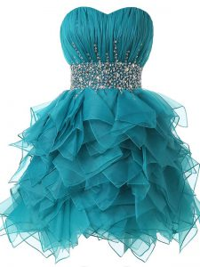 Simple Teal A-line Organza Sweetheart Sleeveless Beading and Ruffles and Ruching Lace Up Cocktail Dresses