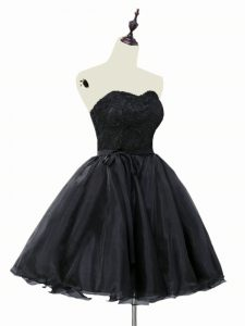Black Organza Lace Up Cocktail Dress Sleeveless Mini Length Lace and Sashes ribbons