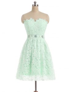 Fine Apple Green A-line Sweetheart Sleeveless Lace Mini Length Zipper Beading and Lace Cocktail Dresses