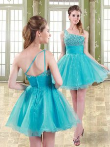 Exquisite Aqua Blue Sleeveless Organza Zipper Cocktail Dresses for Prom and Party and Sweet 16