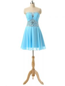 Unique Beading Runway Inspired Dress Baby Blue Lace Up Sleeveless Mini Length