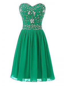 Green Sweetheart Zipper Beading Club Wear Sleeveless