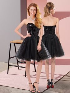 Black A-line Sweetheart Sleeveless Tulle Mini Length Zipper Sequins Cocktail Dress