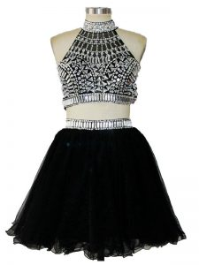 Glorious Black Club Wear Prom and Party and Beach with Beading Halter Top Sleeveless Criss Cross
