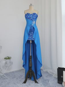 High Low Zipper Cocktail Dresses Blue for Prom and Party and Wedding Party with Beading