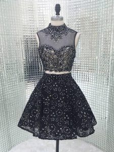 Exceptional Two Pieces Cocktail Dresses Black High-neck Sequined Sleeveless Mini Length Backless