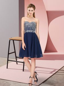 Fine Knee Length Navy Blue Cocktail Dresses Sweetheart Sleeveless Lace Up