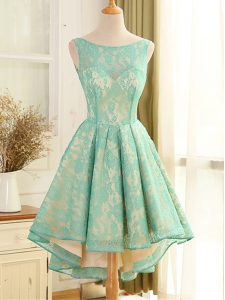 Extravagant Turquoise Backless Scoop Lace and Appliques Cocktail Dress Lace Sleeveless