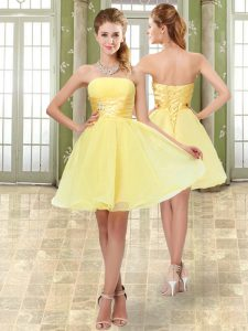 Yellow Sleeveless Organza Lace Up Cocktail Dresses for Prom and Party and Sweet 16