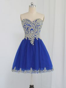 Royal Blue Sleeveless Mini Length Beading Zipper Cocktail Dresses