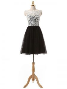 Black Cocktail Dress Prom and Party and Sweet 16 with Lace and Appliques Scoop Sleeveless Zipper