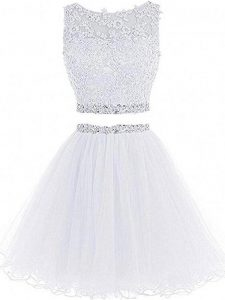 Scoop Sleeveless Zipper Cocktail Dresses White Tulle