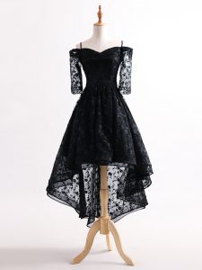 Black Straps Neckline Lace Cocktail Dresses Half Sleeves Lace Up