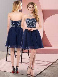 Fashionable Sleeveless Chiffon Mini Length Lace Up Cocktail Dresses in Navy Blue with Beading