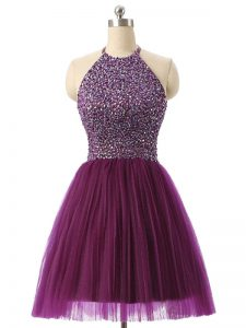 Fashionable Halter Top Sleeveless Club Wear Mini Length Beading and Sequins Dark Purple Tulle