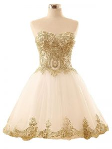 Vintage Mini Length Lace Up Club Wear Champagne for Prom and Party and Sweet 16 with Lace and Appliques