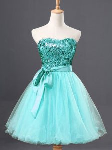 Dramatic A-line Cocktail Dress Aqua Blue Sweetheart Tulle Sleeveless Mini Length Zipper