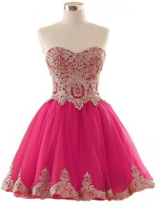 Modest Mini Length Lace Up Cocktail Dresses Hot Pink for Prom and Party and Sweet 16 with Appliques