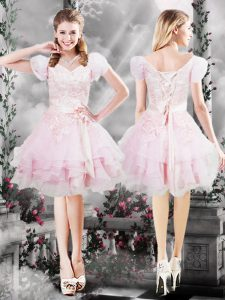 Wonderful Knee Length Lace Up Club Wear Baby Pink for Prom and Party with Beading and Appliques and Ruffles and Hand Made Flower