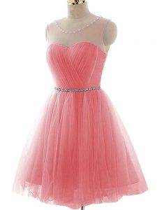 Wonderful Mini Length Watermelon Red Club Wear Tulle Sleeveless Ruching