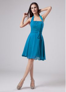 Teal Chiffon Zipper Cocktail Dress Sleeveless Knee Length Belt